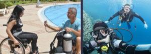 Дайвинг людей с инвалидностью. Слева – первое занятие с дайвером с параплегией, справа – погружение с бадди, имеющим ампутацию