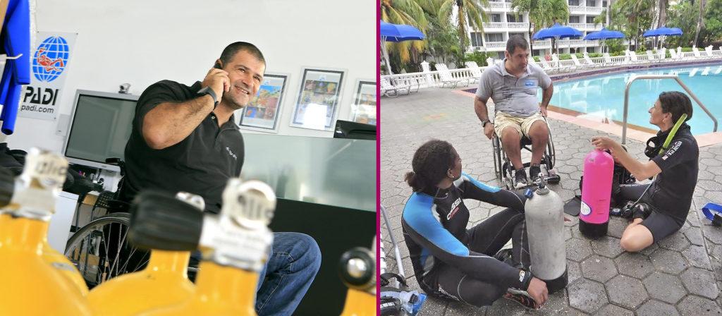Обучение дайвингу людей с инвалидностью. Инструктор Manthos Marras
